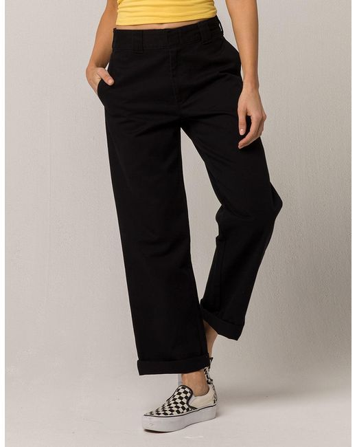Dickies - Black Roll Cuff Crop Pants - Lyst ... 1e728f2eb0