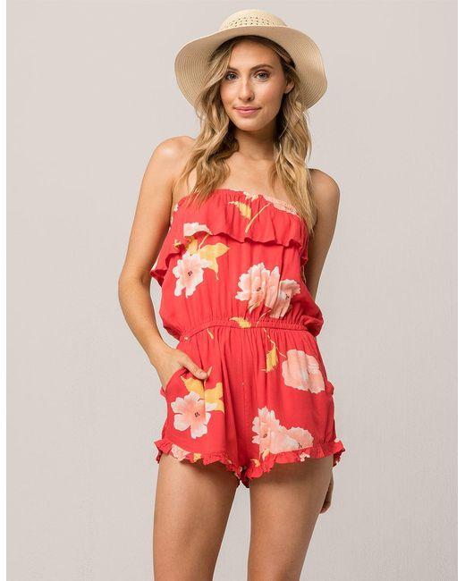 Billabong - Red Pocket Flower Womens Romper - Lyst