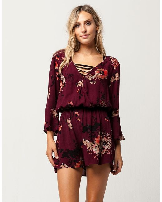 Band Of Gypsies | Red Bog Collective Surplice Womens Romper | Lyst