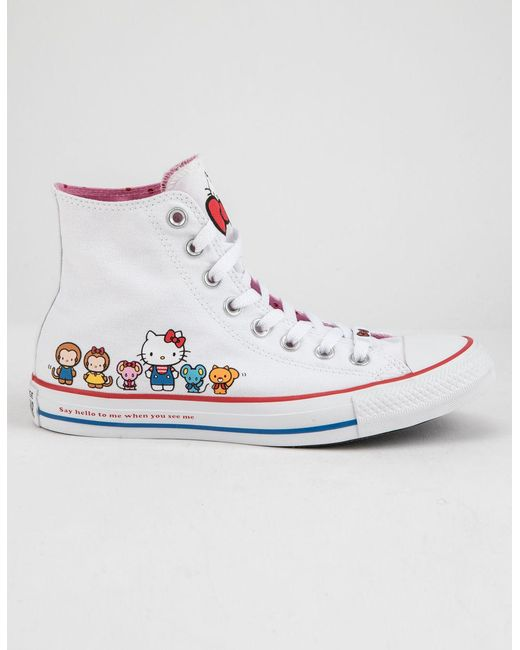 ce08ca1e0dc15f Converse - X Hello Kitty Chuck Taylor All Star White   Prism Pink High Top  Womens ...