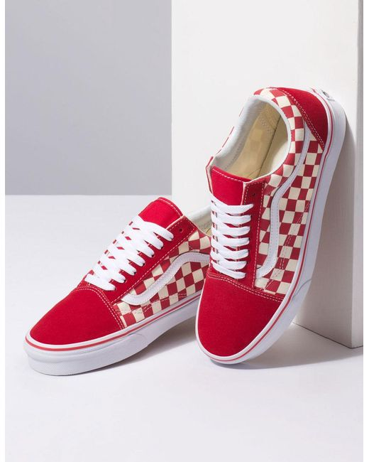 b0dd5bbe1f94 ... Lyst Vans - Primary Check Old Skool Racing Red   White Shoes for Men ...