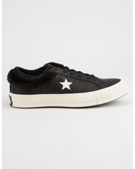 e7414a94486d Lyst - Converse One Star Ox Fur Black Womens Shoes in Black