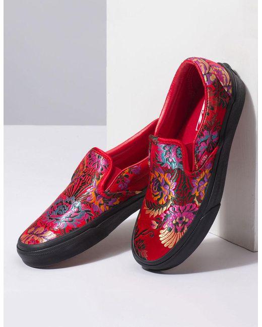 7c0e20cff3 ... Vans - Red Festival Satin Classic Slip-on Shoes - Lyst ...