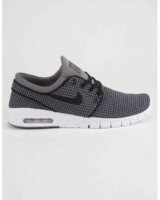 56e6555e08420f ... save off Nike - Gray Stefan Janoski Max Gunsmoke White Black Mens Shoes  for Men . ...