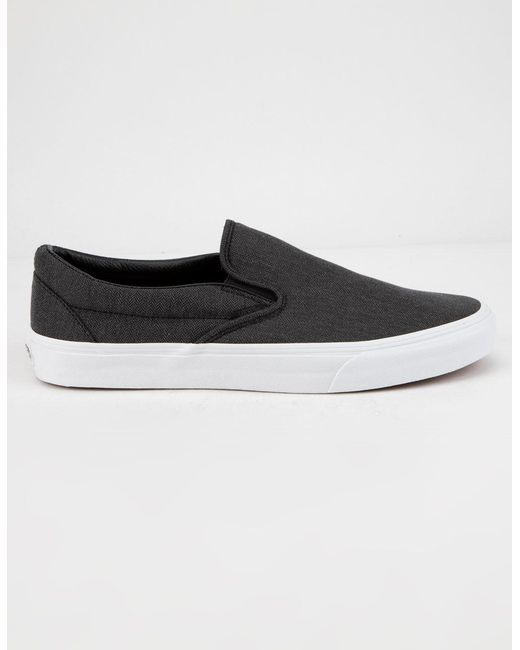 Lyst - Vans Herringbone Classic Slip-on Mens Shoes in Black for Men ... 9d749ab61