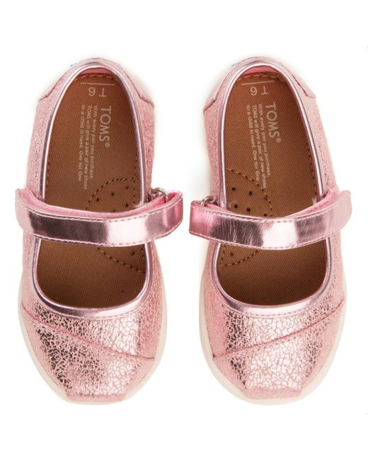 ff9c7949e80 ... TOMS - Tiny   Pink Metallic Foil Mary Jane Flats - Lyst ...
