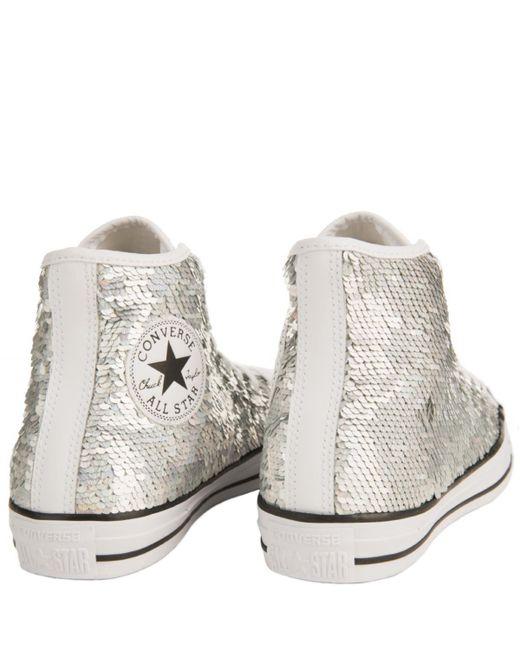 867f84a7a0eb8c ... Converse - Metallic Chuck Taylor All Star Silver Sequins Sneaker - Lyst  ...