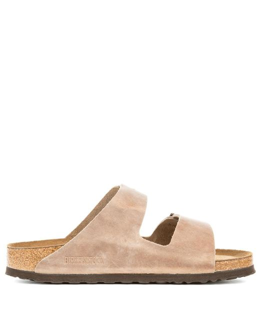 94cba2f88a ... Birkenstock - Narrow Arizona Waxy Leather Soft Footbed Tabacco Brown  Sandals - Lyst ...