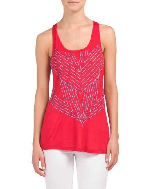 Tj maxx racerback tank with stitching in red save 30 lyst for Tj maxx t shirts