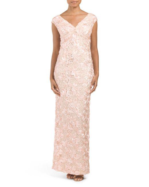 Tj Maxx Made In Usa Glitter Soutache Gown In Pink Blush
