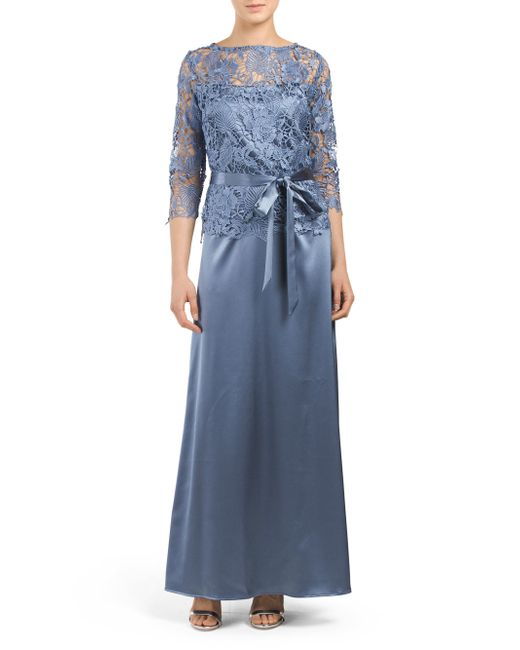 Tj Maxx Made In Usa Long Chemical Lace Top Gown In Blue Lyst