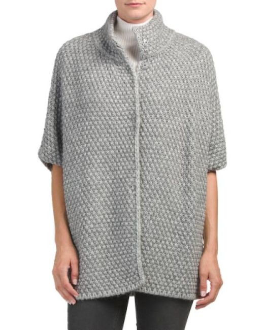 Tj Maxx | Gray Made In Italy Honeycomb Snap Front Poncho | Lyst