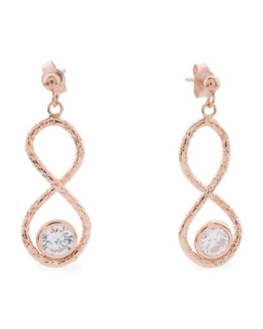 Tj Maxx | Metallic Made In Italy 14k Rose Gold Infinity Cubic Zirconia Earrings | Lyst