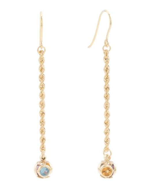 Tj Maxx | Metallic Made In Italy 14k Gold Gemstone Station Rope Linear Earrings | Lyst