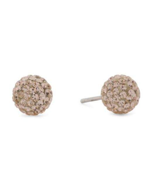 Tj Ma Metallic Made In Italy Sterling Silver Crystal Ball Stud Earrings Lyst