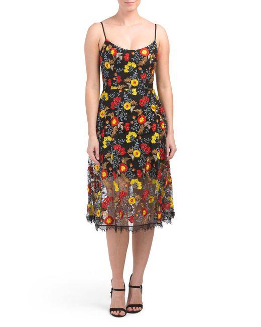 102e0c2681e3 Tj Maxx A-line Floral Lace Midi Dress in Black - Lyst