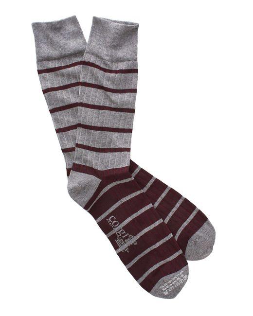 Corgi - Gray Variegated Stripe Socks In Grey/maroon for Men - Lyst