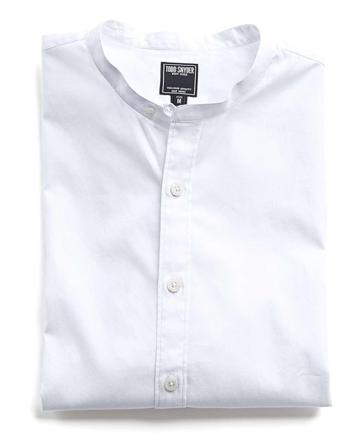 Todd Snyder - Band Collar Shirt In White for Men - Lyst