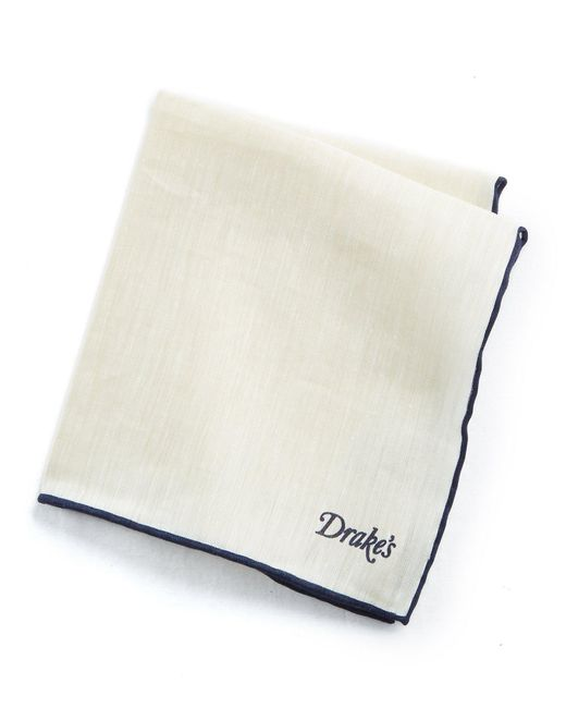 Drake's - Blue Tipped Linen Cashmere Pocket Square for Men - Lyst