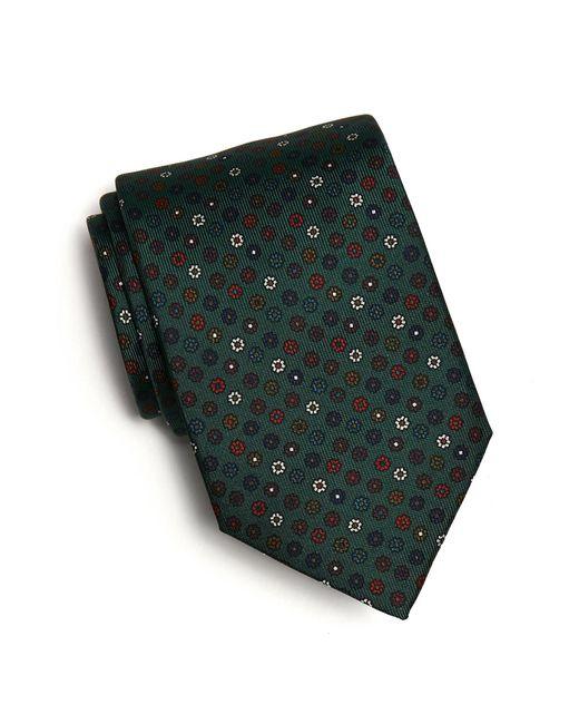 Drake's - Green Silk Flower Foulard Tie In Olive for Men - Lyst