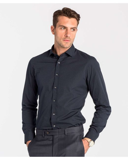 todd snyder spread collar dress shirt in navy pindot in