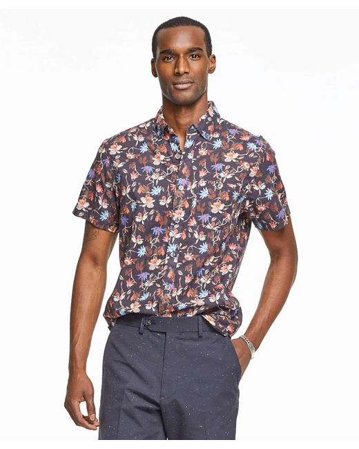 Todd snyder Short Sleeve Floral Print Shirt in Brown for Men ...