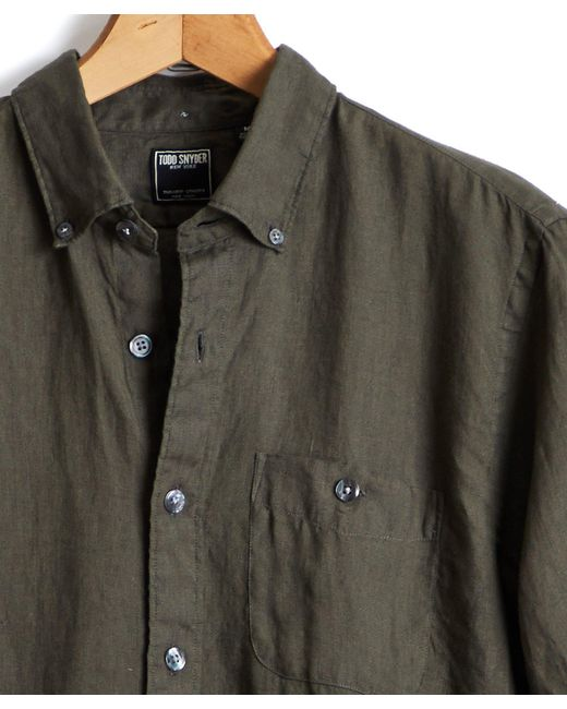 Todd Snyder - Green Solid Linen Shirt In Olive for Men - Lyst