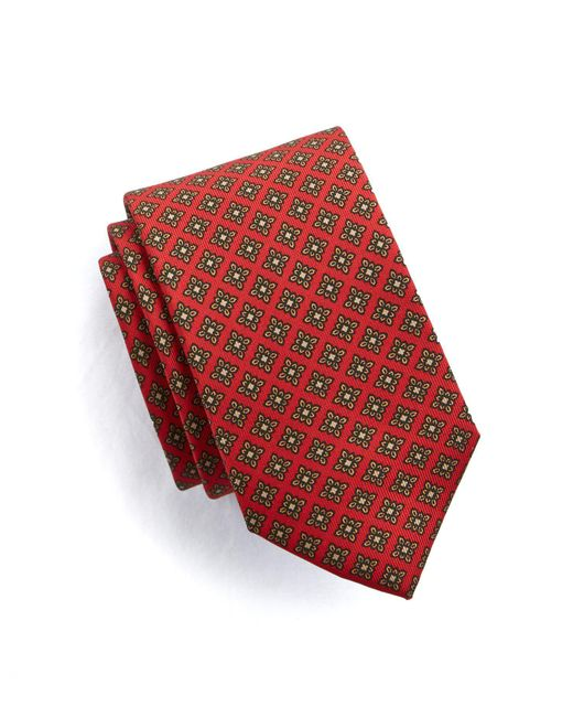 Drake's - Floral Medallion Tie In Red Silk for Men - Lyst
