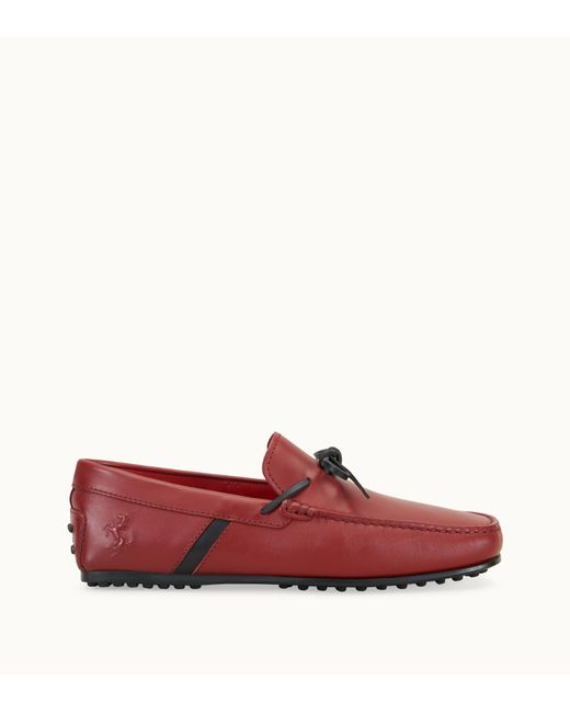 Tod's - Red For Ferrari City Gommino Driving Shoes In Leather for Men - Lyst