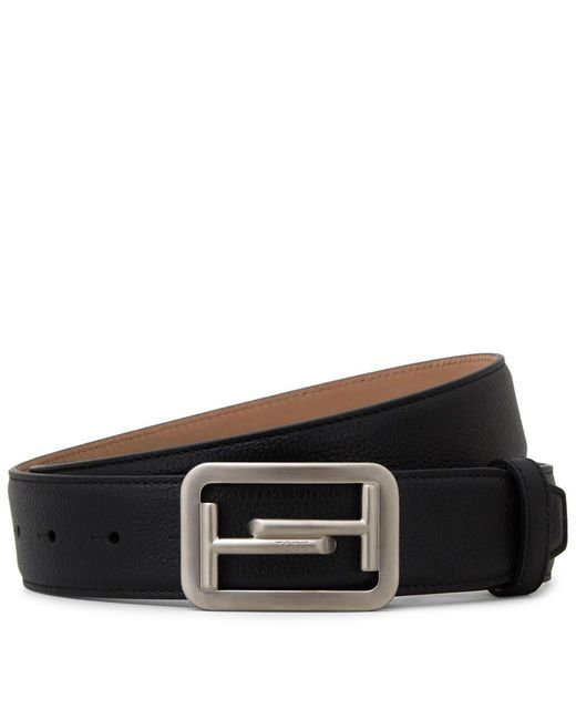 Tod's - Black Leather Belt for Men - Lyst