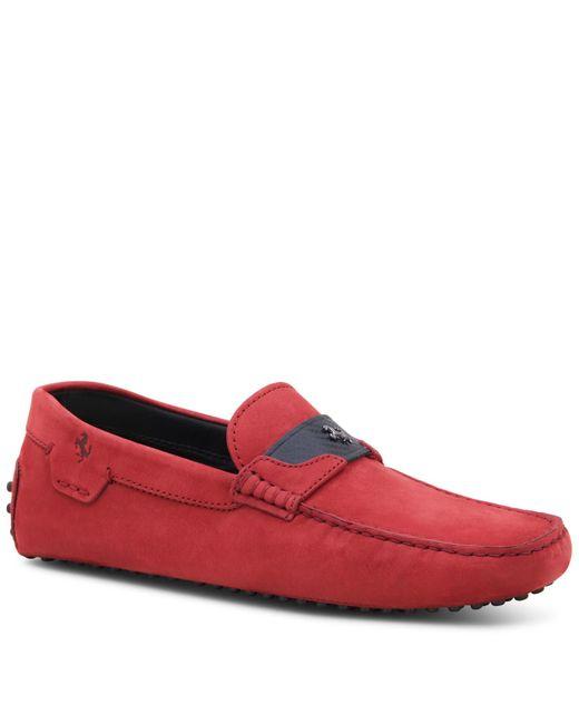 Tod's | Red Gommino For Ferrari In Nubuck for Men | Lyst