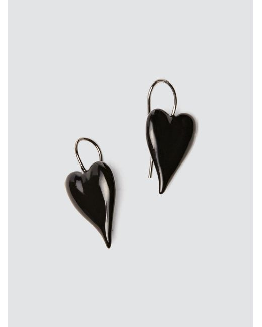 Tomas Maier enamel heart earrings - Black dxQYCL