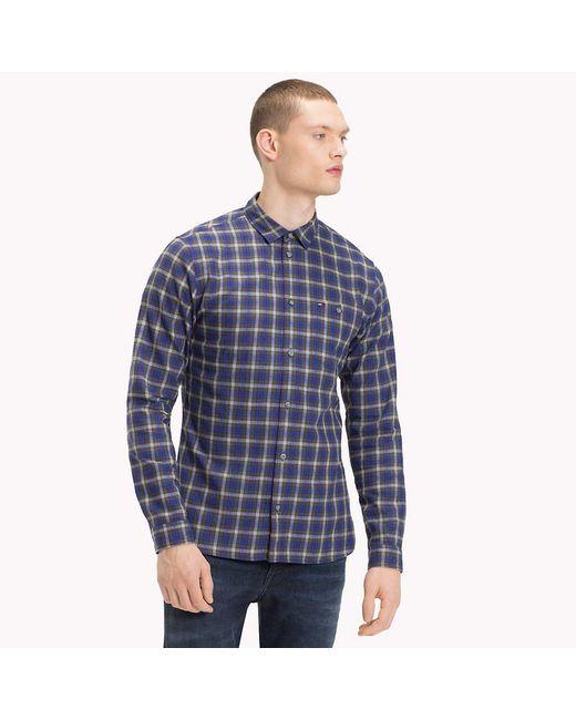 67fcc9c5 Tommy Hilfiger Herringbone Weave Check Shirt in Blue for Men - Save ...