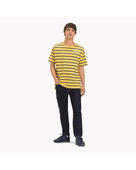 6ae19f2a ... Tommy Hilfiger - Yellow Cotton Multi Stripe T-shirt for Men - Lyst ...