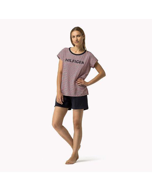 Tommy Hilfiger   Blue Cotton Short Sleeve Pyjama Set   Lyst