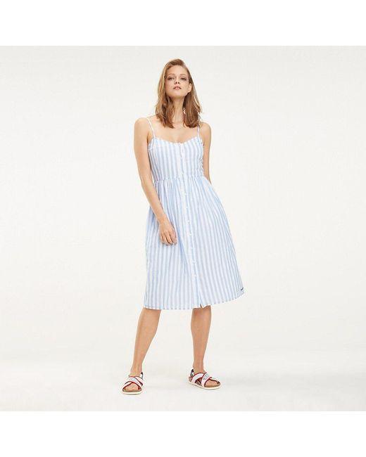 bc49fbd75c1a Tommy Hilfiger - White Vertical Stripe Summer Dress - Lyst ...