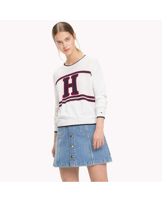 Tommy Hilfiger - White Sweater With A Design On The Front - Lyst