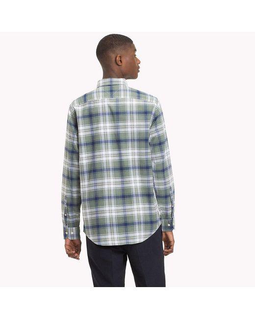 e29c34a08 ... Tommy Hilfiger - Green Plaid Check Herringbone Shirt for Men - Lyst ...