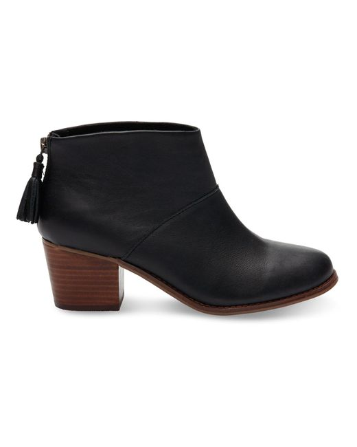 TOMS - Black Leila Leather Back Zip Block Heel Booties - Lyst