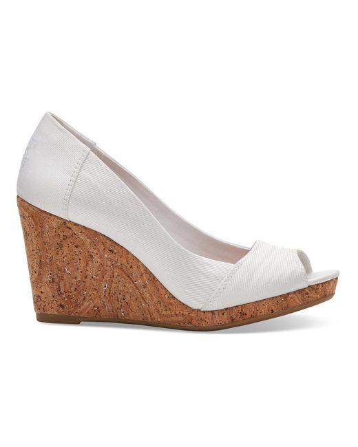 TOMS - White Grosgrain Women's Stella Peep-toe Wedges - Lyst