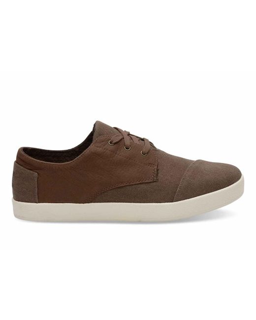 bf72e1ad705 TOMS Brown Leather Canvas Men s Paseo Sneakers in Brown for Men - Lyst