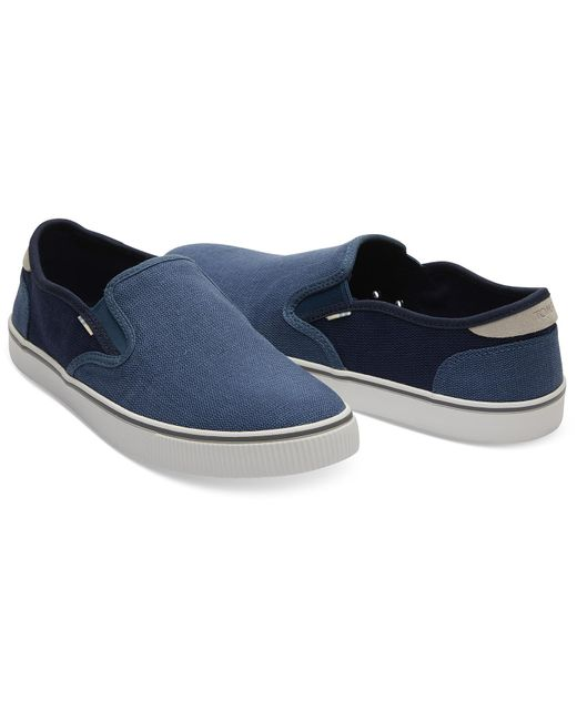 18a05c73002 ... TOMS - Mallard Blue And Navy Heritage Canvas Mens Baja Slip-ons Topanga  Collection for