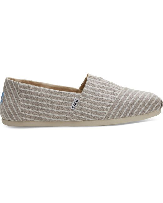 TOMS - Gray Toffee Washed Stripe Men's Classics for Men - Lyst