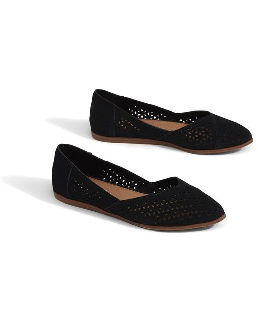 dc79fc6840ee ... TOMS - Black Perforated Suede Womens Jutti Flats - Lyst ...