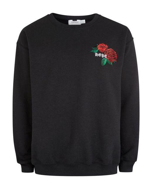 Topman - Black Hope/rose Sweatshirt for Men - Lyst