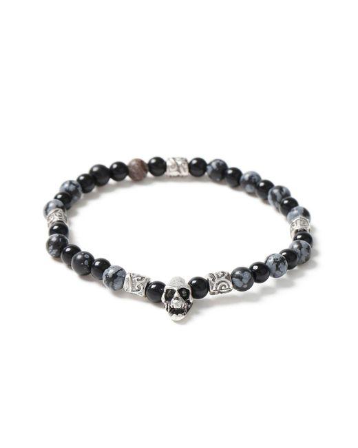 Topman - Gray Black Bead And Skull Bracelet for Men - Lyst