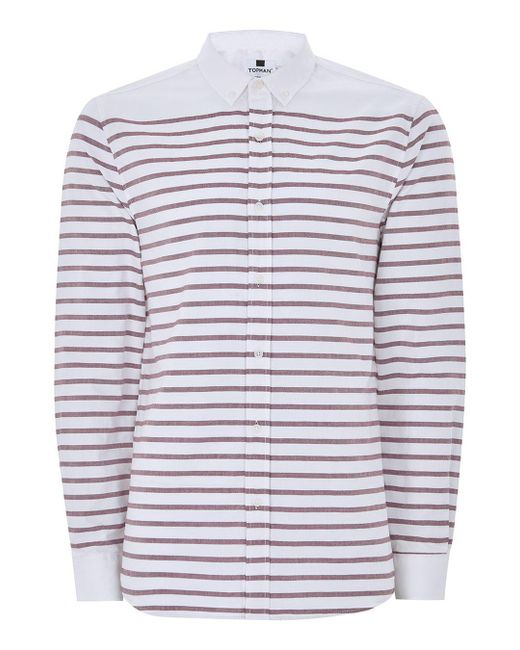 Lyst Topman White And Burgundy Stripe Button Down Shirt