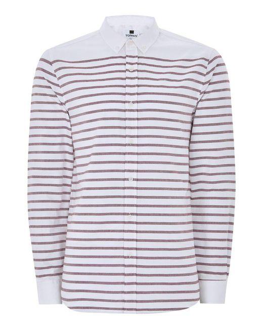 Topman white and burgundy stripe button down shirt in red for Red and white button down shirt