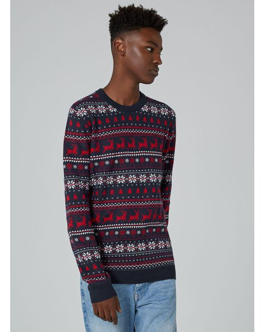 Topman Navy And Red Fair Isle Jumper in Blue for Men | Lyst