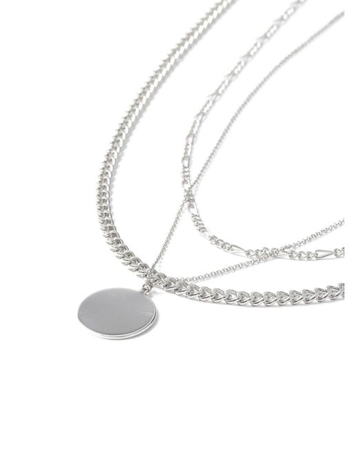 Topman - Metallic Ilver Disc Multirow Necklace for Men - Lyst
